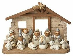 Miniature Kids Nativity Scene with Creche, Set of 12 Rearran