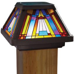 Moonrays 91241 Stained Glass Solar Post Cap Lamp, LED is 6X-