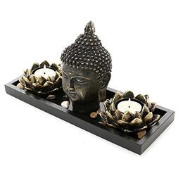 MyGift Buddha Head Sculpture Zen Garden Set w/Lotus Tealight