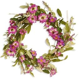 National Tree 20 Inch Floral Wreath with Purple Daisy and La