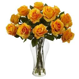 Nearly Natural 1328-OY Blooming Roses with Vase, Orange Yell