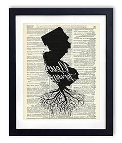 New Jersey Home Grown Upcycled Vintage Dictionary Art Print