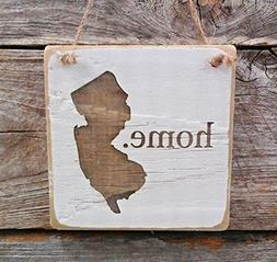 New Jersey Home Hanger - Wood Ornament - New Jersey Decor