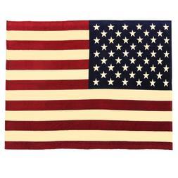 Oversized USA Flag Fleece Throw Blanket, Vintage, 60 inch x
