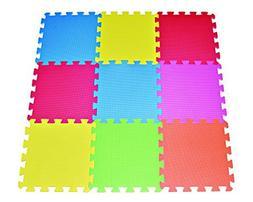 POCO DIVO 9-tile Multi-color Exercise Mat Solid Foam EVA Pla