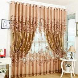 PanDaDa Modern Room Floral Tulle Window Screening Curtain Dr