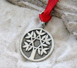 Pewter Tree of Life with Star of David Christmas Ornament an
