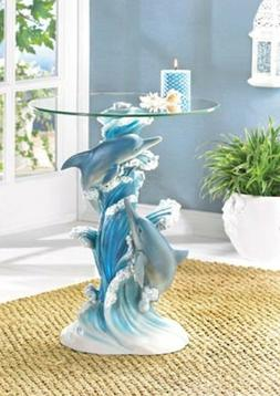 Playful Dolphins Accent Table Polystone Base Tempered Glass