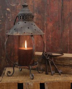 Primitive Decor Rustic Table Lantern-Antique Rust-13 Inches