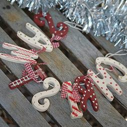 Red & Cream Christmas Wooden Garland Bunting - Vintage Count