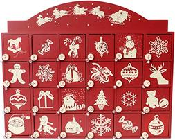 Red and White Santa on Sleigh Wooden Advent Calendar with Do