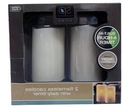 Sarah Peyton Home 2 Flameless Candles with Daily Timer