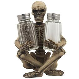 Scary Skeleton Glass Salt and Pepper Shaker Set with Decorat