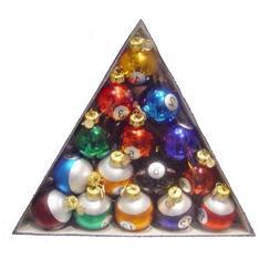 """Set of 15 Colorful Glass Pool Ball Christmas Ornaments 1.5"""""""