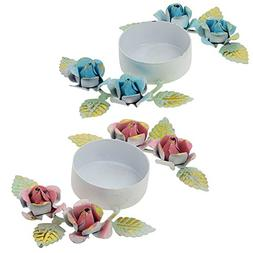 Set of 2 Candle Tea Lights Holders Colorful Floral Decoratio