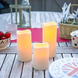 Set of 3 Outdoor Battery Operated LED Flameless Candles with