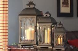 Set of 3 Outdoor Indoor or Outdoor Lanterns - Bronze