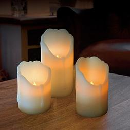 Set of 3 real Ivy wax Flickering Flameless LED Candles in 3