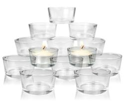 Glass Tea Light Candle Holders - Set of 24 Clear Glass Holde