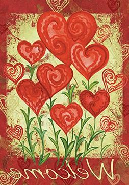Toland Garden Hearts 12.5 x 18 Welcome Spring Valentine Red
