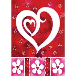 Toland Heart & Flowers 12.5 x 18 Red Valentine Romantic Love