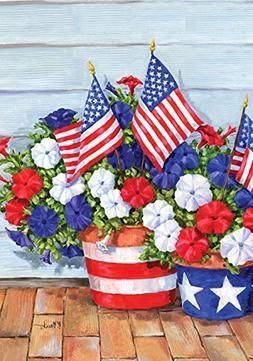 Toland Home Garden Patriotic Pansies 12.5 x 18 Inch Decorati