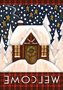 Toland - Snowy Cabin - Decorative Welcome Winter Cozy Snow H
