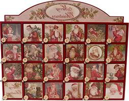Vintage Santa Wooden Advent Calendar with Doors from Primiti