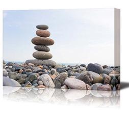 Wall26 - Canvas Prints Wall Art - Zen Stones Balance, Pebble