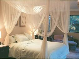White Sheer Bed Canopy 4 Corner Four Poster Bed Mosquito Net