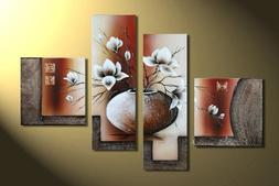 Wieco Art 4-Piece Elegant Flowers Stretched and Framed Hand-
