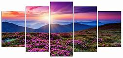 Wieco Art Mountains in Sunrise 5 Panels Giclee Canvas Prints