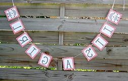 It's A Girl banner - Lamb themed Baby Shower Banner in Pink