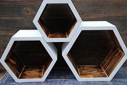 NEW - A set of 3 wooden shelves, wall shelves, wall shelf wo