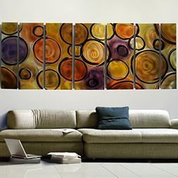 Extra Large Abstract Colorful Orange, Yellow, Black and Purp