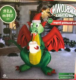 Air Blown Inflatable Fire-Breathing DRAGON Gemmy 6.5ft 1.98m