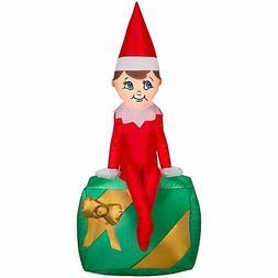 Airblown Inflatable Elf on Present Gemmy Christmas Yard Deco