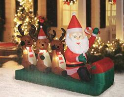 Holiday Time Airblown Inflatable Santa Sledding Reindeer, 6.