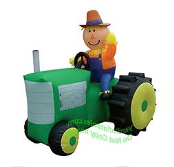 Airblown Inflatable Scarecrow Riding on a Green Tractor - Ha