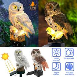 Solar LED Warm White Light Stand Owl Garden Landscape Yard O