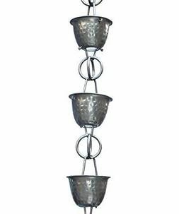 Monarch Aluminum Hammered Cup Rain Chain, 8 1 2 Feet Length