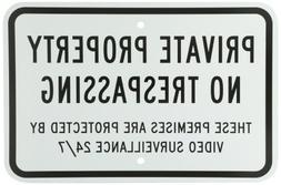 "SmartSign Aluminum Sign, Legend ""Private Property No Trespas"