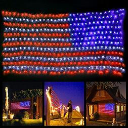 American Flag Lights with 420 Super Bright LEDs,KAZOKU Water