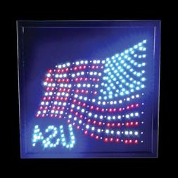 "Rhode Island Novelty 14 x 18"" American Flag LED Lighted Sign"