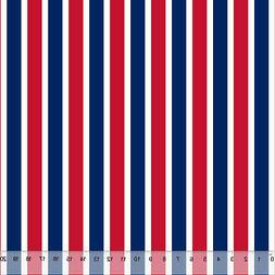 American Red & Blue Stripes - Home Decor Fabric Polyester 62