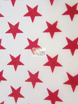 AMERICAN STARS POLY COTTON FABRIC - White/Red Stars - BY YAR