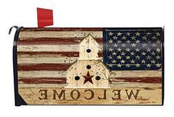 Americana Welcome Primitive Mailbox Cover Patriotic Birdhous
