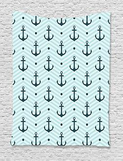 Anchor Decor Tapestry by Ambesonne, Anchors Zig Zag Chevron