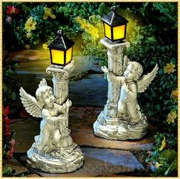 Angel Cherub Statue Sculpture w Solar Lantern Outdoor Garden