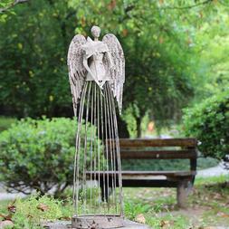 Angel Garden Statue W/Star,  Antiqued Metal Yard Art Decor L